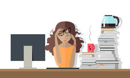 Woman Tired at Work. Deadline. A Lot of Work to Do. Stock Photos