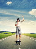 Woman and tired young man on the road Stock Images