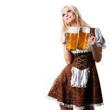Woman in tiroler or oktoberfest style with beer Stock Photography