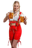 Woman in tiroler oktoberfest style with a glass of beer stock photos