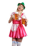 Woman in tiroler oktoberfest style with a glass of beer Royalty Free Stock Photography