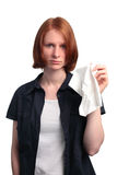 Woman with a Tissue Stock Images