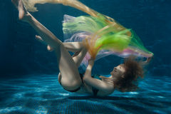 Woman with a tissue in the bottom pool. Stock Photography