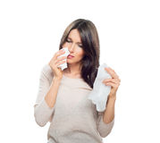 Woman with tissue catched a cold Stock Photos