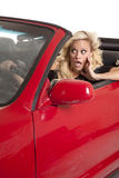 Woman about to crash car Stock Photo