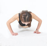 Woman to do push-ups Royalty Free Stock Photo
