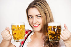 Woman about to drink a cold beer. Royalty Free Stock Photos