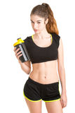 Woman About to Drink a Protein Shake Stock Photos
