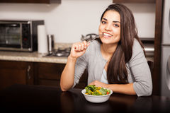 Woman about to eat a salad Stock Photos
