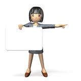 Woman to guide using the message board Royalty Free Stock Photography