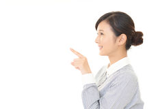 Woman to point at something Royalty Free Stock Photo