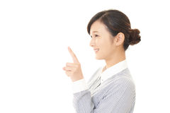 Woman to point at something Royalty Free Stock Images