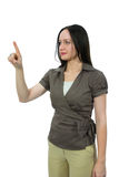 Woman to point the way to smth Royalty Free Stock Photo