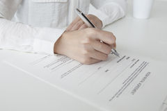 Woman to sign a real estate contract Royalty Free Stock Photo