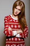 Woman to the waist with big eyes in a sweater Stock Photos