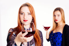 Woman toasting with red wine Stock Images