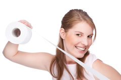 Woman with toilet paper Stock Photography