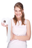 Woman with toilet paper Royalty Free Stock Images