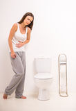 Woman in toilet Royalty Free Stock Photo