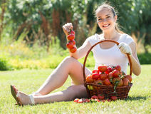 Woman with tomato harvest in garden Stock Photos