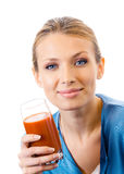 Woman with tomato juice Royalty Free Stock Image
