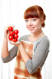 Woman with tomatoes Stock Photos
