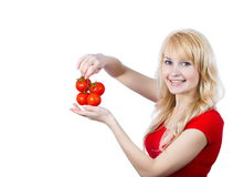 Woman with tomatoes royalty free stock photo