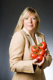 Woman tomatoes fresh  for healthy li Royalty Free Stock Photo