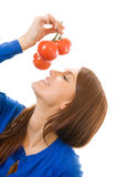 Woman with tomatoes, isolated Stock Image