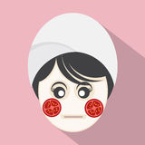 Woman With Tomatoes Pieces On Face. Royalty Free Stock Images