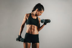 Woman with toned muscular body lifting weights Royalty Free Stock Photography