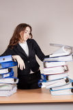Woman with tons of folders Stock Photos