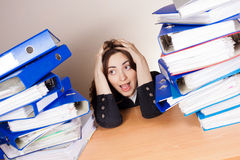 Woman with tons of folders Royalty Free Stock Photos