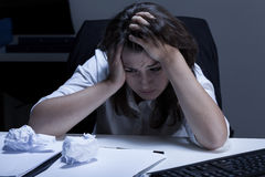 Woman with too much work. Image of woman with too much work Royalty Free Stock Photos