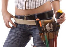 Woman with tool bag Stock Images