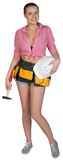 Woman in tool belt holding hard hat and hammer Stock Photos