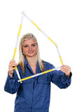 Woman with a tool mechanic Stock Images