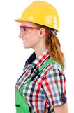 Woman with toolkit isolated Royalty Free Stock Images