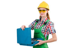 Woman with toolkit Royalty Free Stock Photos
