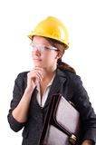 Woman with toolkit isolated on the white Stock Photos