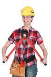 Woman with tools and boltcutters Stock Images