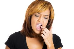 Woman with tooth ache Stock Images