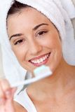 Woman with tooth brush Stock Photo