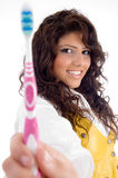 Woman with tooth brush Royalty Free Stock Photography