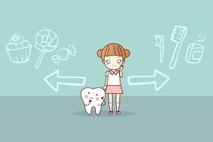 Woman and tooth with crossroads. Cute cartoon woman and tooth with crossroads Royalty Free Stock Image
