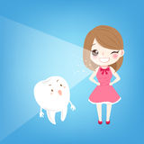 Woman with tooth whiten concept. Cute cartoon woman with tooth whiten concept Stock Photography
