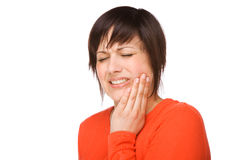 Woman with toothache stock photos