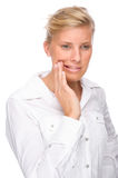 Woman with toothache. Full isolated portrait of a caucasian woman with toothache Royalty Free Stock Images