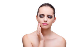 The woman with toothache isolated on white. Woman with toothache isolated on white Stock Photography