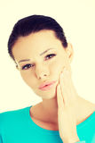 Woman with toothache. Young woman with tooth ache Royalty Free Stock Photography